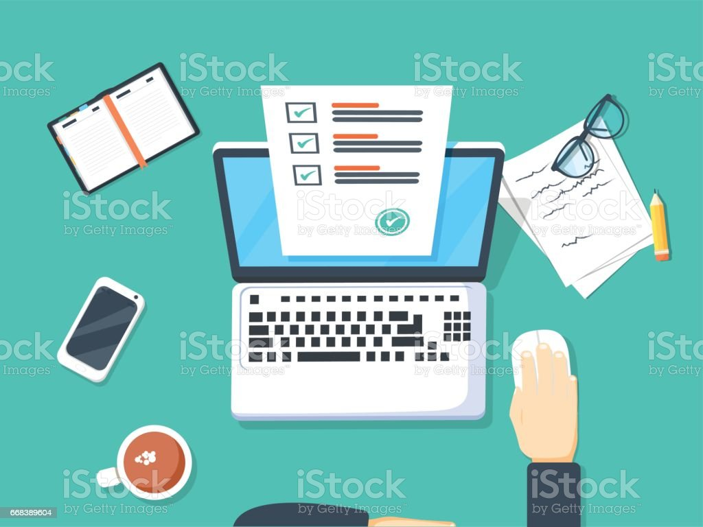 Online form survey on laptop vector illustration, person working on computer vector art illustration