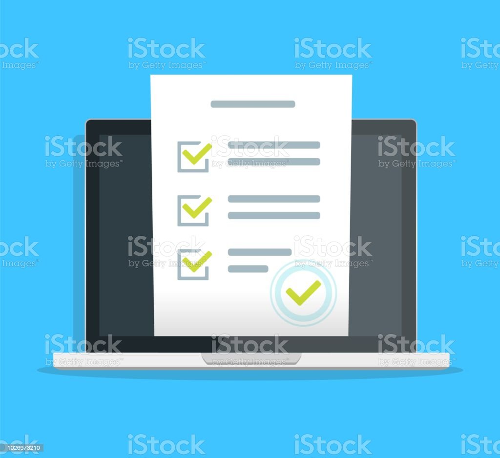Online Form Survey On Pc Computer Vector Illustration Flat