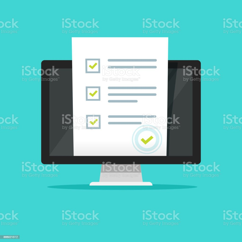 Online form survey on pc computer vector illustration, flat cartoon design monitor display showing quiz exam paper sheet document, concept of electronic voting on internet, web learning vector art illustration