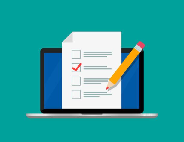 Online form survey on screen laptop. Checklist and pencil. Online form survey on screen laptop. Checklist and pencil. Modern electronic voting system. Vector illustration. Flat design. EPS 10. survey stock illustrations