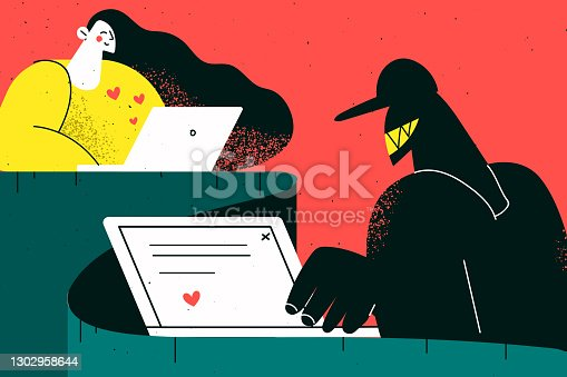 istock Online fraud, trick in internet dating concept 1302958644