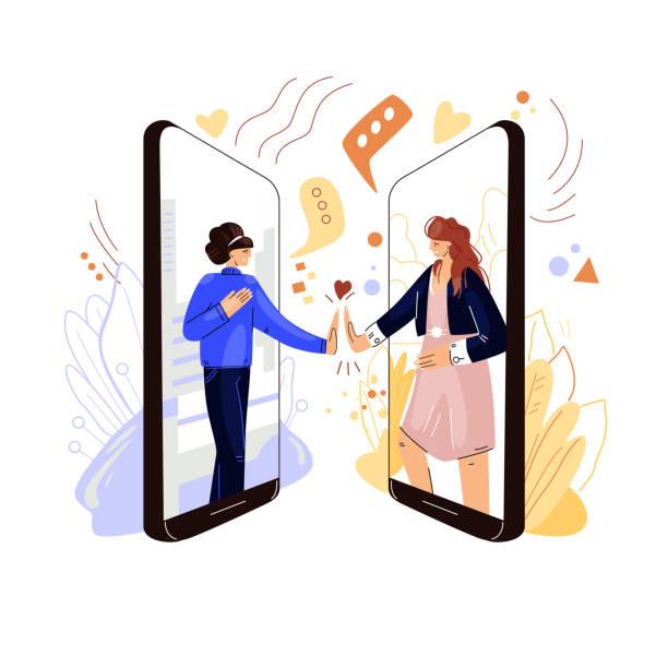 bildbanksillustrationer, clip art samt tecknat material och ikoner med online vänner stöd vektor platt koncept. två kvinnliga karaktärer som håller varandra i handen, delar sympati, stöd och kärlek till varandra med fjärr virtuell videokonferens, telefonsamtal. - emotionellt stöd