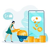 Online Fund Transfer and Money Withdrawal Cartoon. Coins Flow on Flat Mobile Screen. Woman Collecting Gold Dollars in Trolley. Banking Transaction and Payment via Internet. Vector Illustration