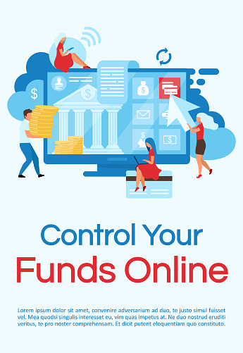 Online Funds Control Poster Vector Template Financial ...