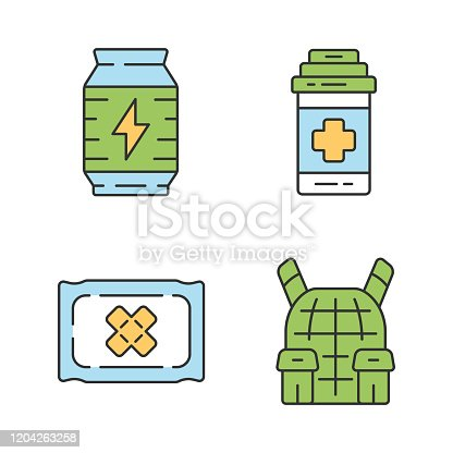 Online game inventory color icons set. Esports, cybersports. Battle royale. Computer game equipment. Energy drink, medical bandage, painkiller, body armor. Isolated vector illustrations