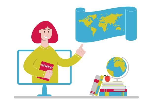 ilustrações de stock, clip art, desenhos animados e ícones de online geography teacher with world map on computer monitor - teacher school solo