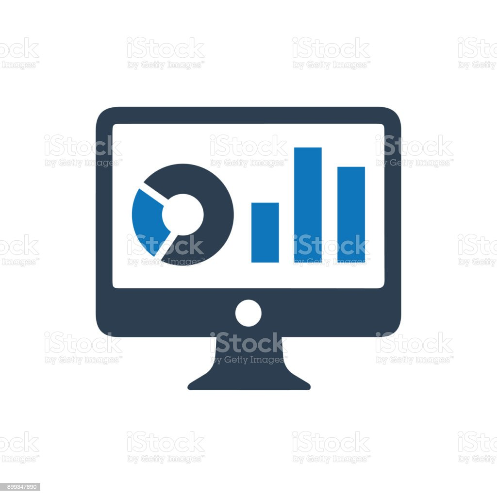 Online Graphical Report Icon vector art illustration