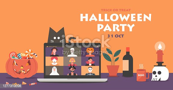 istock Online Halloween party concept banner on laptop screen with pumpkin and cat 1277310205