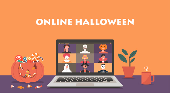 Online Halloween party concept, group of people in horror costumes meeting together via video conference