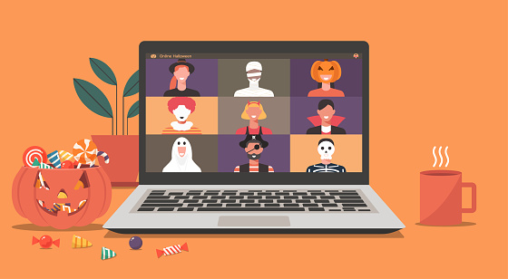 Online Halloween party concept, people in horror costumes on laptop screen have video conference