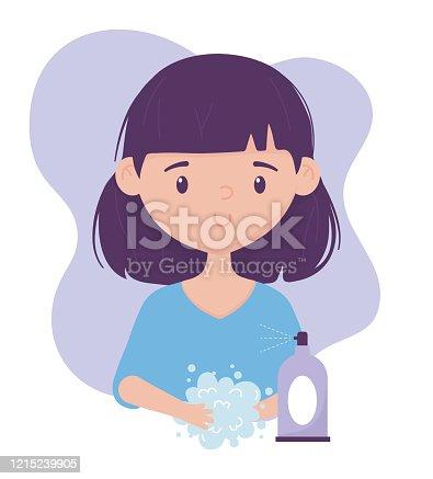 online health, girl washing hands with soap spray covid 19 coronavirus vector illustration