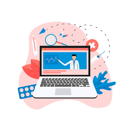 Online healthcare and medical consultation concept on laptop. Vector flat illustration