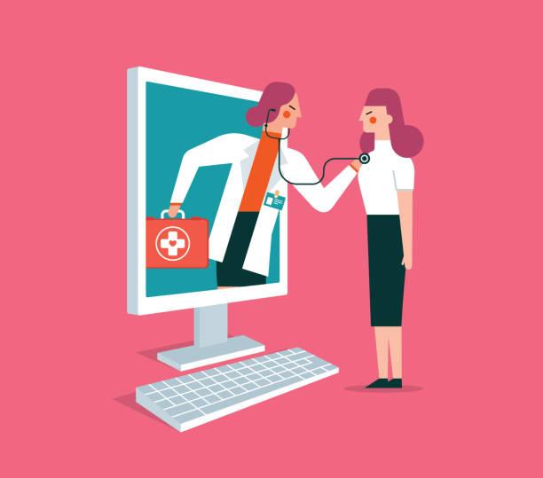 ilustraciones, imágenes clip art, dibujos animados e iconos de stock de en línea - cuidado de la salud - mujer - telehealth