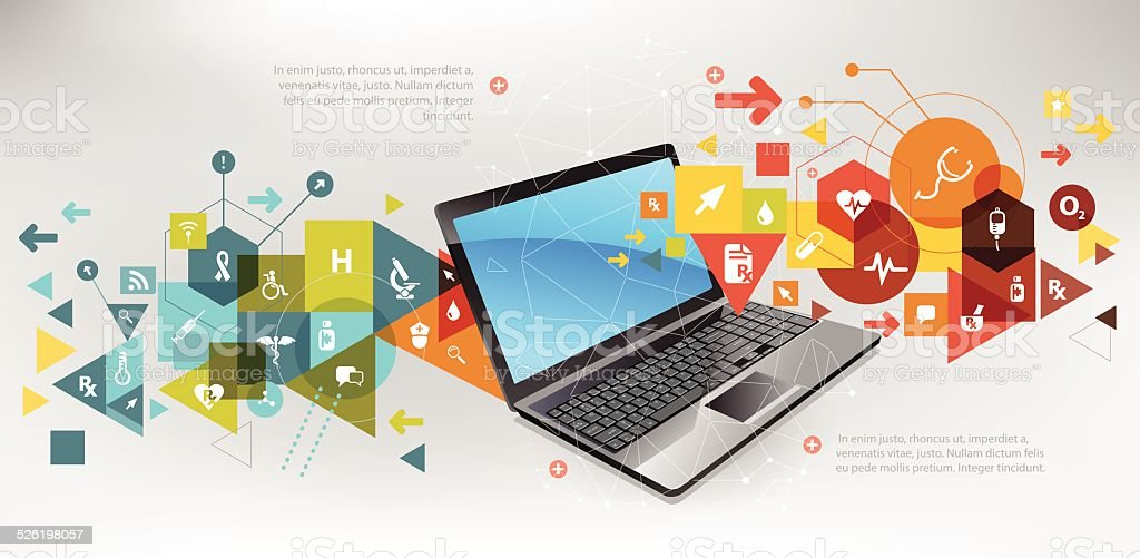 Online healthcare tech vector art illustration