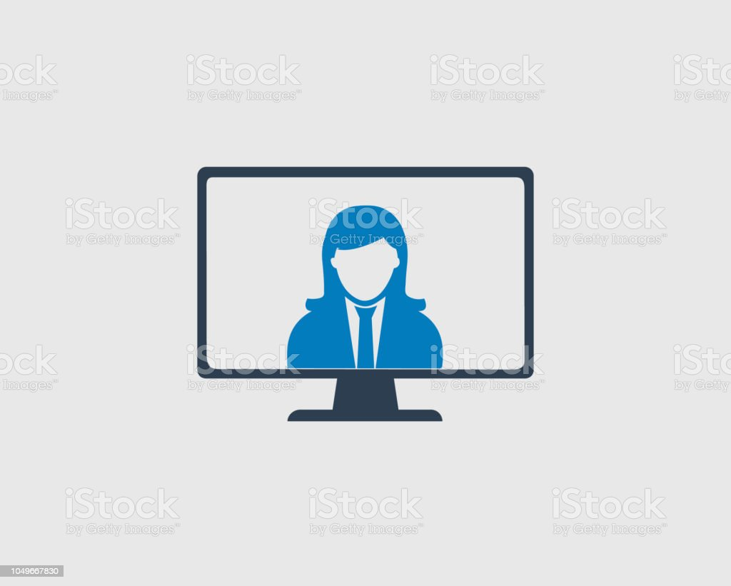Online help icon. Corporate women symbol on computer monitor