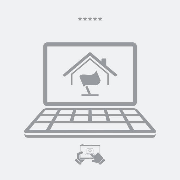 online home flag concept - post it notes stock illustrations