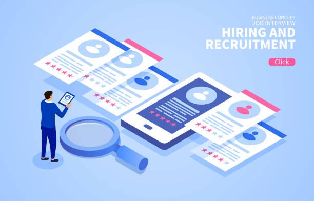 Online PERSONAL Rekrutierung und Job-Interview – Vektorgrafik
