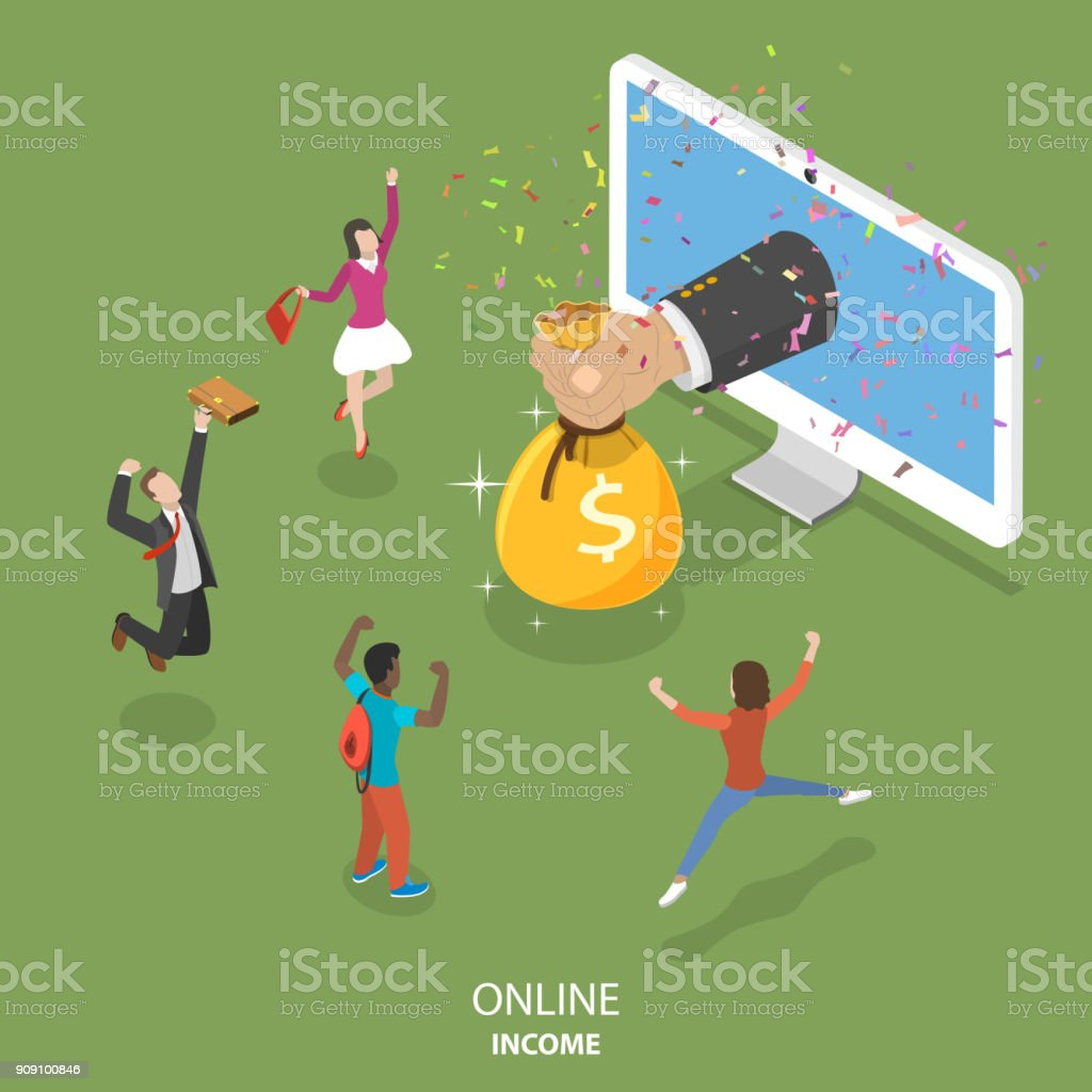 Online income flat isometric vector concept. vector art illustration