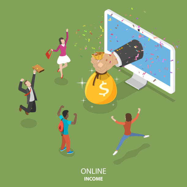 Online income flat isometric vector concept. Online income flat isometric vector concept. Big hand is appeared from the monitor and giving a money bag to the rejoicing people. commercial event stock illustrations