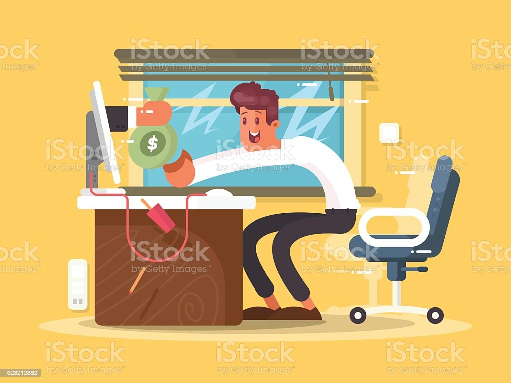 Online income freelance vector art illustration