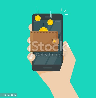Online income money in electronic mobile phone wallet vector, flat coins transferring in wallet on hand with smartphone, concept of fund savings, cash earnings, financial success, digital wealth