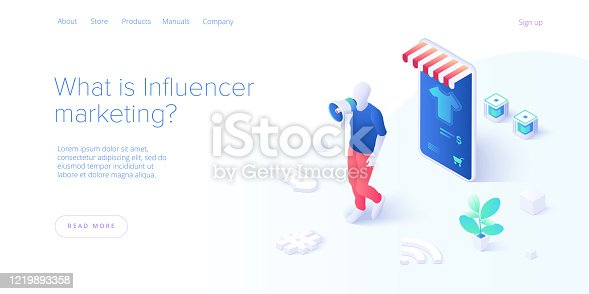 Online influencer marketing concept in flat vector illustration. Young blogger advertising goods via internet social media. Website or blog ad influence on potential buyers. Web banner layout template.
