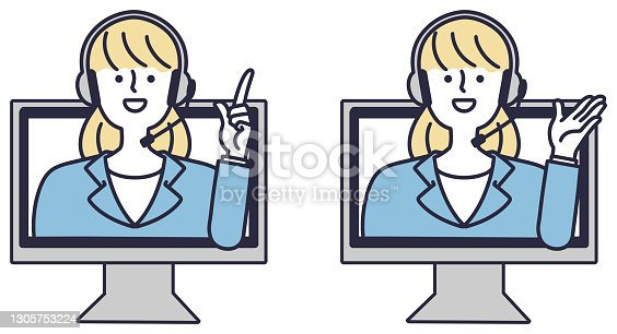 istock Online information operator female vector illustration 1305753224