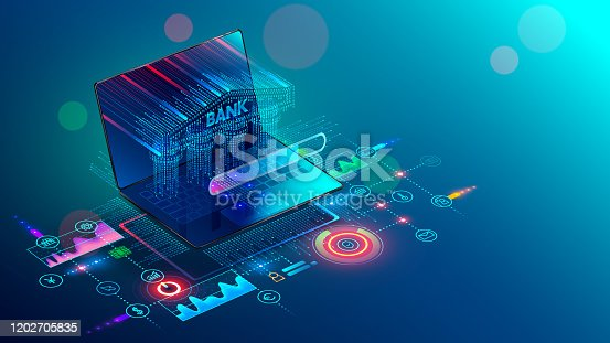 Online Internet banking 3d isometric banner. A Bank building with columns consisting of a digits matrix is shown on a laptop screen. Financial services available through the website on mobile devices.