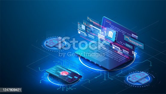 istock Online Internet banking 3d isometric banner. A Bank building with columns consisting of a digits matrix is shown on a laptop screen. Financial services available through the website on mobile devices 1247809421