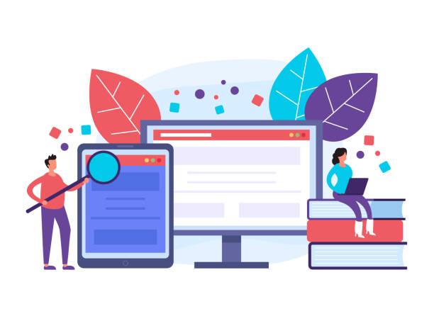 Online internet courses learning. Web education concept. Vector flat graphic design illustration vector art illustration