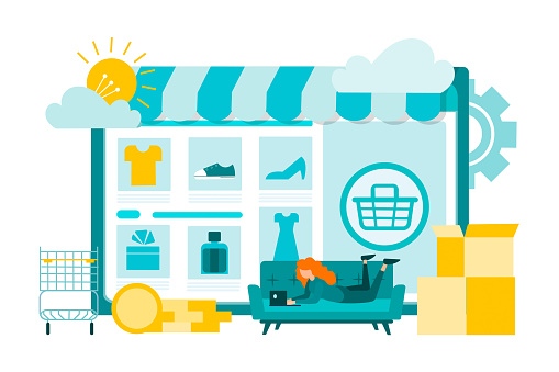 Online internet store, shopping on the couch. Order and delivery of goods, convenient payment