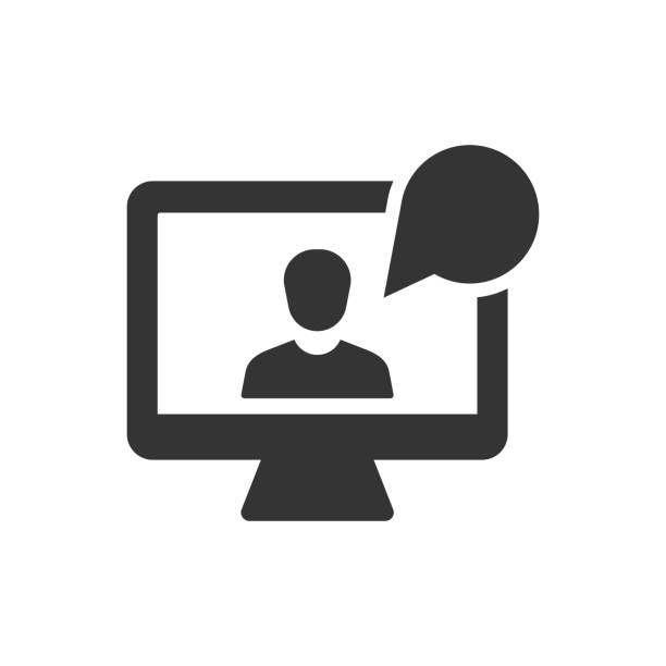 online interview icon - virtual meeting stock illustrations