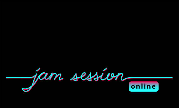online jam session black web banner, background with tiktok colors. - tiktok stock illustrations