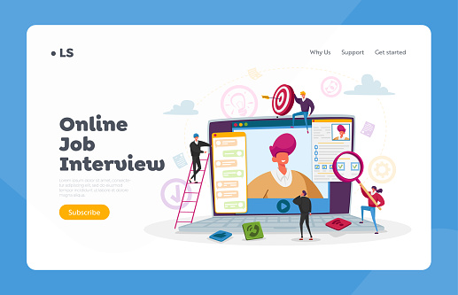 Online Job Interview Landing Page Template. Characters Asking Questions to Applicant of Work History Skills via Internet