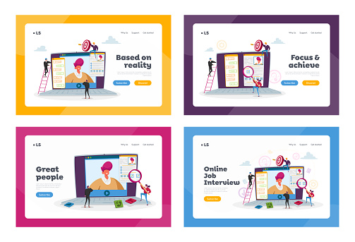 Online Job Interview Landing Page Template Set. Characters Ask Questions to Applicant About Work Skills via Internet
