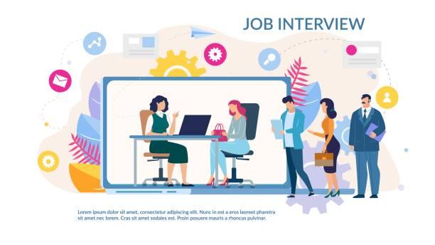 ilustrações de stock, clip art, desenhos animados e ícones de online job interview service trendy flat webpage - job interview
