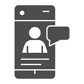 Online job messaging solid icon. Smartphone with human silhouette and dialogue glyph style pictogram on white background. Social network for mobile concept and web design. Vector graphics