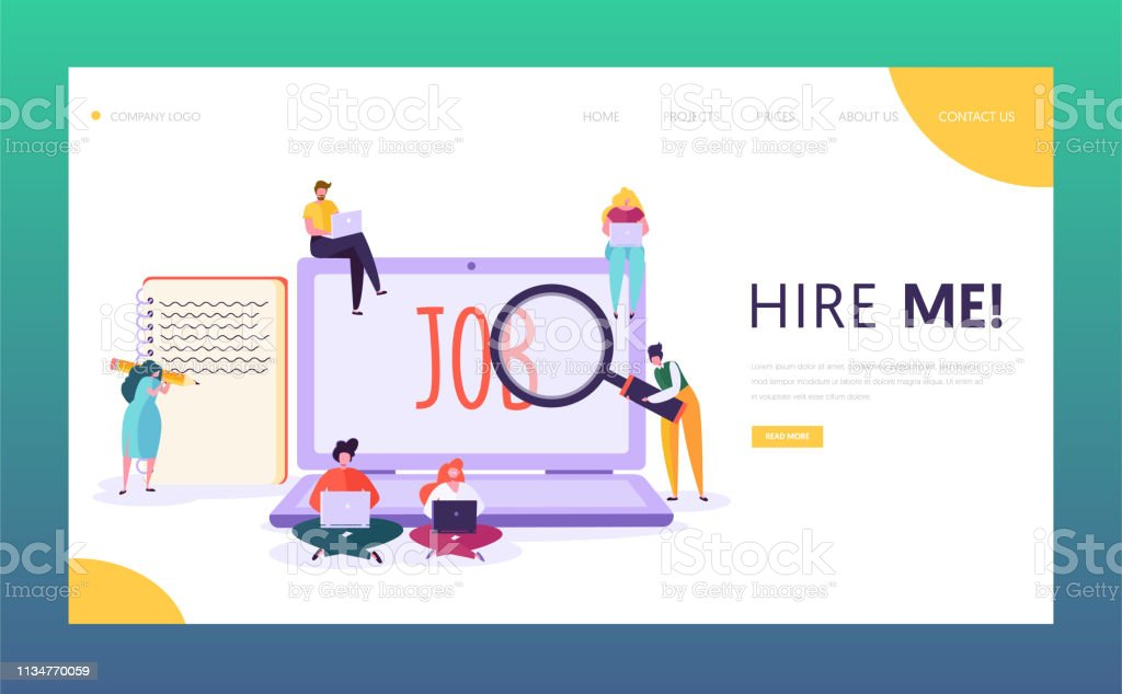 Online Job Search Concept Landing Page Male And Female Character Write Creative Resume Looking For Good Salary Vacancy Human Resource Website Or Web Page Flat Cartoon Vector Illustration Stock Illustration Download