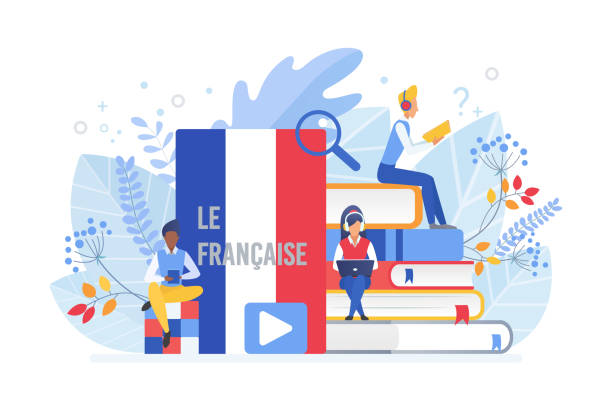 Online language courses flat vector illustration. Distance education, remote school, France university lessons. French language Internet class, e learning isolated clipart on white background. Online language courses flat vector illustration. Distance education, remote school, France university lessons. French language Internet class, e learning isolated clipart on white background french culture stock illustrations
