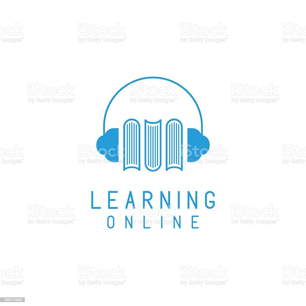 online language learning book logo headphones のイラスト素材