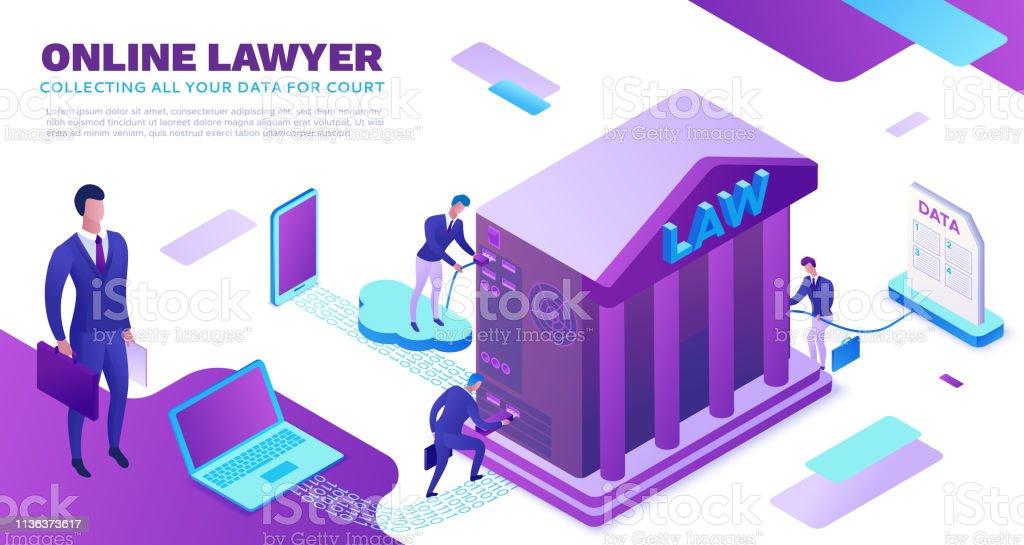 Online-Anwaltsdienst isometric infographische 3D-flache Abbildung, Fürsprecher für das Sammeln von Daten, Cloud-Gerichtsdienst, digitales technologisches Konzept, Gerichtsgebäude, Computer, Laptop, Menschen, Web-Banner – Vektorgrafik