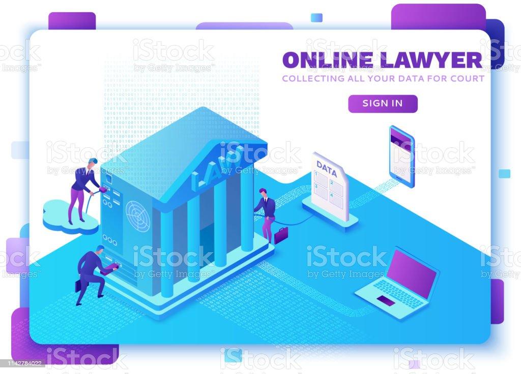 Online-Anwaltsservice isometric infographische 3D-flache Abbildung, Fürsprecher für das Sammeln von Daten, Cloud-Gerichtsdienst, digitales Technologie-Konzept, Gerichtsgebäude, Computer, Laptop, Menschen, Webdesign – Vektorgrafik