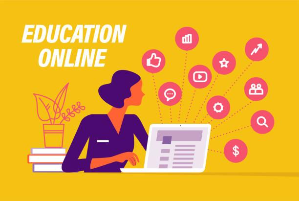 ilustrações, clipart, desenhos animados e ícones de conceito de aprendizagem online. pessoas na metáfora do laptop, vídeo, mídias sociais, ícones da comunicação. - mobile