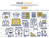Line vector illustration of online learning. Banner/Header Icons.