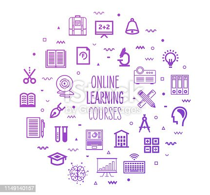 Online learning courses outline style symbols on modern gradient background. Line vector icons for infographics, mobile and web designs.