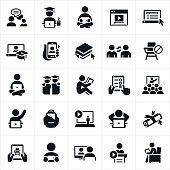 An icon set illustrating the concept of online learning. The icons show students working on their computers and other online devices as well as attending lectures and trainings on these same devices.