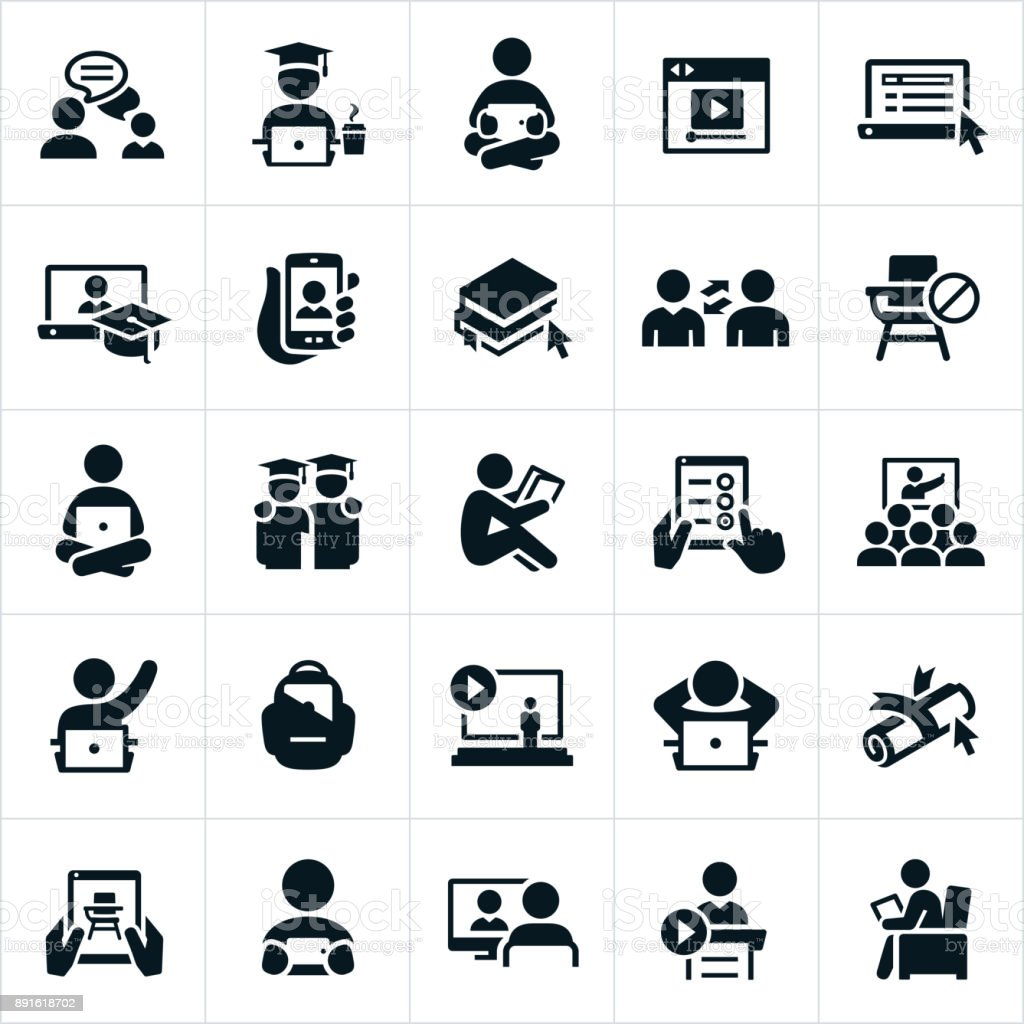 Online Learning Icons vector art illustration