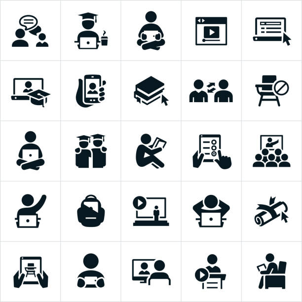 Online Learning Icons An icon set illustrating the concept of online learning. The icons show students working on their computers and other online devices as well as attending lectures and trainings on these same devices. students stock illustrations