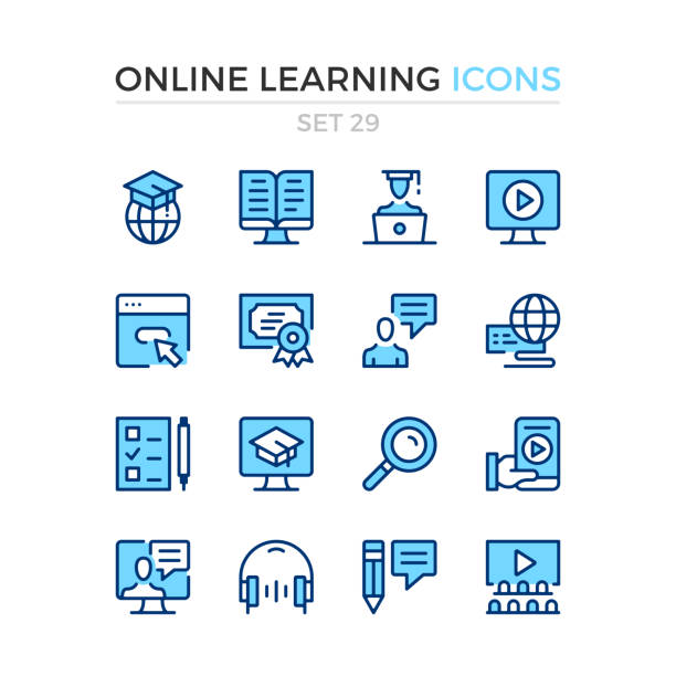 ilustrações de stock, clip art, desenhos animados e ícones de online learning icons. vector line icons set. premium quality. simple thin line design. stroke, linear style. modern outline symbols, pictograms. - webinar anuncio