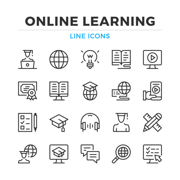 ilustrações de stock, clip art, desenhos animados e ícones de online learning line icons set. elearning, e-learning. modern outline elements, graphic design concepts. stroke, linear style. simple symbols collection. vector line icons - webinar anuncio
